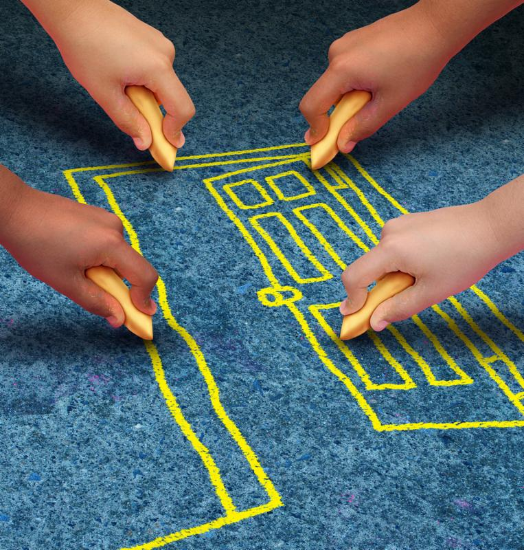 Open door opportunity and community freedom concept for access to learning and education services with a group of hands representing ethnic groups of young people holding chalk cooperating together as friends to draw a doorway.
