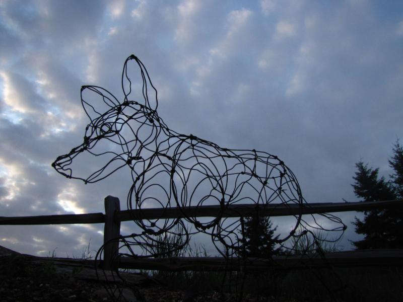Copper wolf sculpture at Wolf Haven