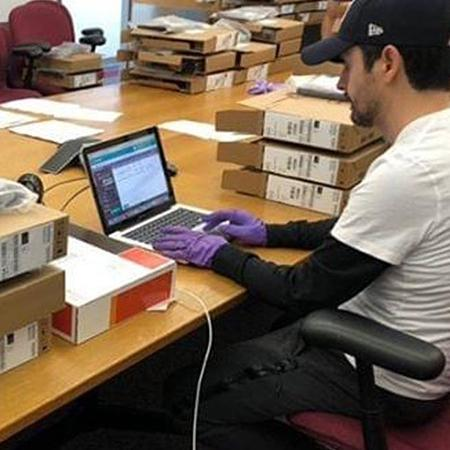 Photo of Laptops being Catalogued