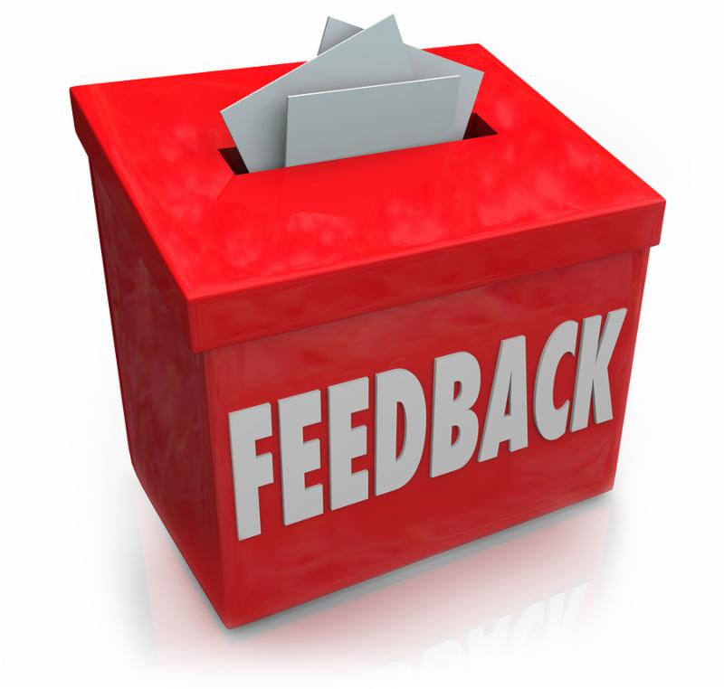 A red Feedback box for collecting employee or customer ideas, thoughts, comments, reviews, ratings, suggestions or other communication or information