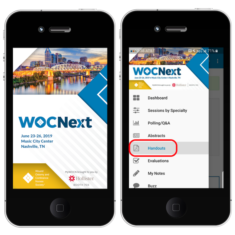 View session handouts on the MyWOCN app