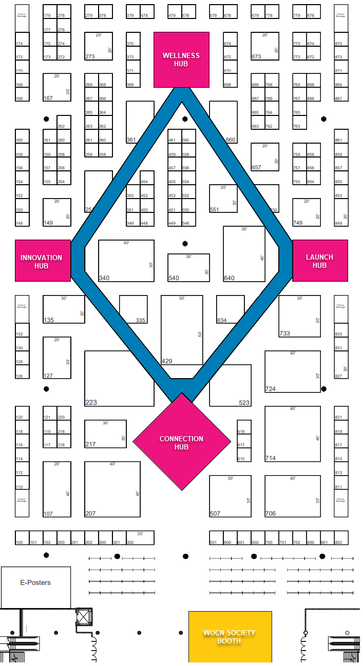 Click here to view the new WOCNext 2020 Exhibit Hall Floor Plan.