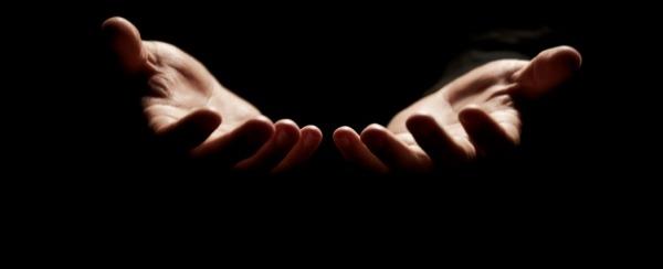 hands open in prayer