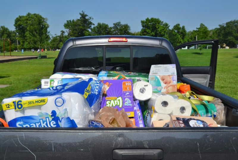 Truck full of supplies