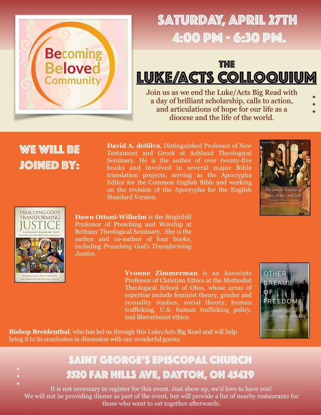 Luke Acts Colloquium April 27 2019 4 p.m. at St George Dayton