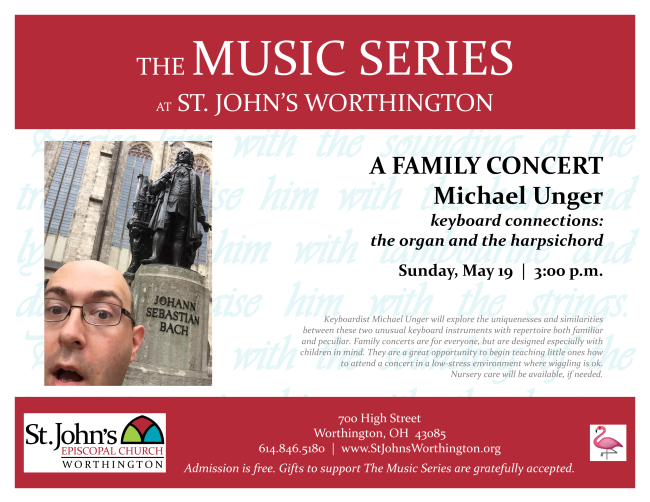 Family concert with Michael Unger at St. John's Worthington May 19