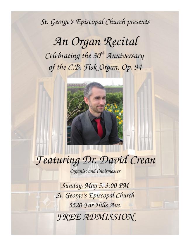 St. George's organ recital May 5
