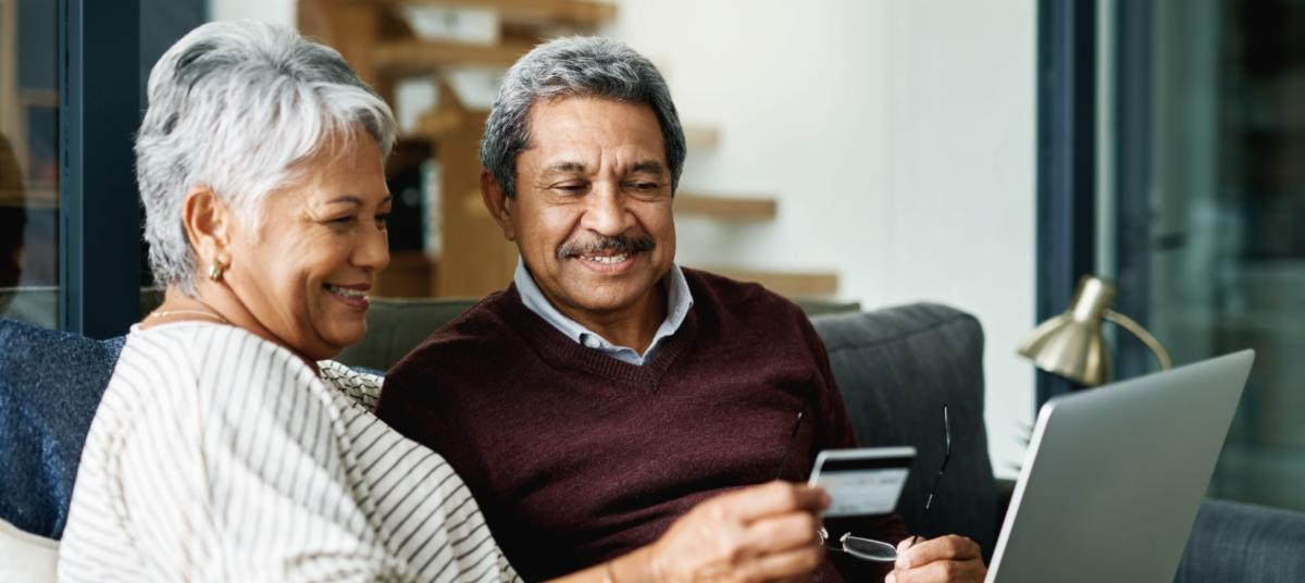 older couple using computer