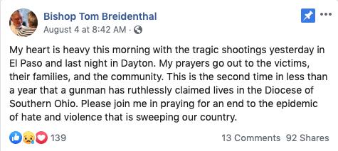 Bishop Breidenthal Facebook statement
