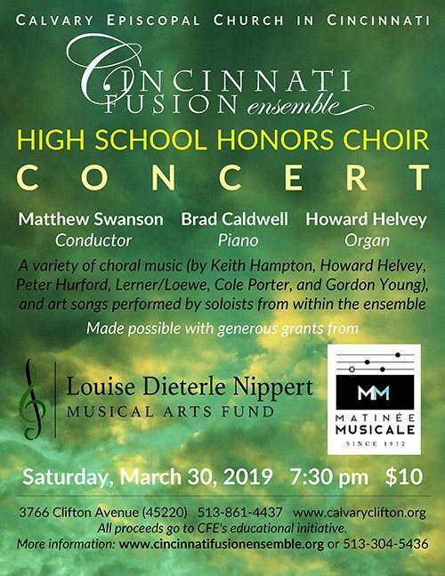 Cincinnati Fusion Ensemble Concert at Calvary, Clifton, March 30, 2019 at 7:30 p.m. At Calvary, Clifton