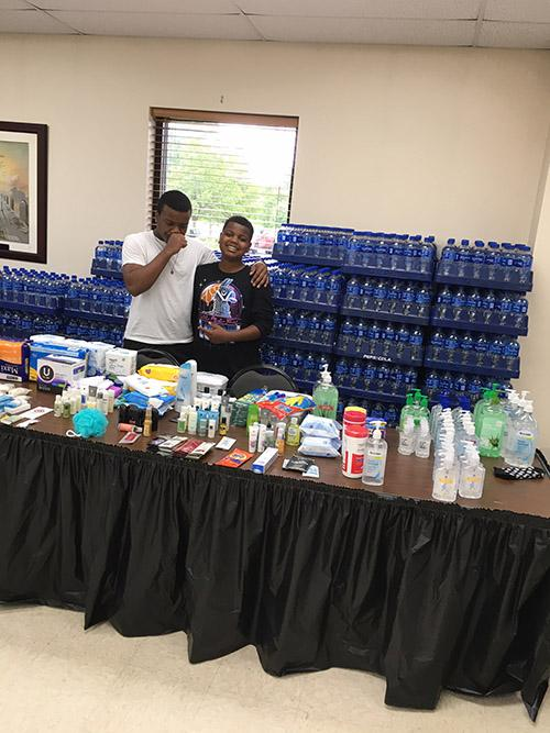 Bottled water and supplies at St. Margaret's