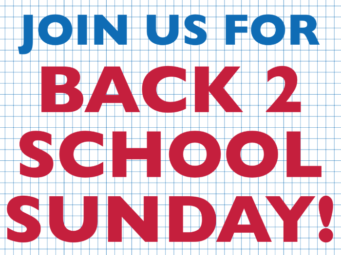 Back 2 School Sunday