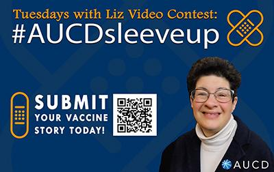 Image of Liz with AUCD logo, a bandaid graphics, a QR code, and the name of the contest #AUCDSleeveUp
