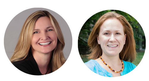 Profile images of presenters. Meg Grigal, a  woman with mid-length blonde hair and blue eyes.  Clare Papay with auburn hair, a blue shirt, and a big smile.
