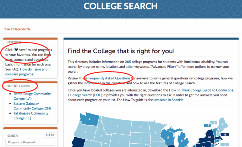 Screen shot of college search page with red ovals around new key features_ how to save and compare college programs_ recently added programs_ and the frequently asked questions page