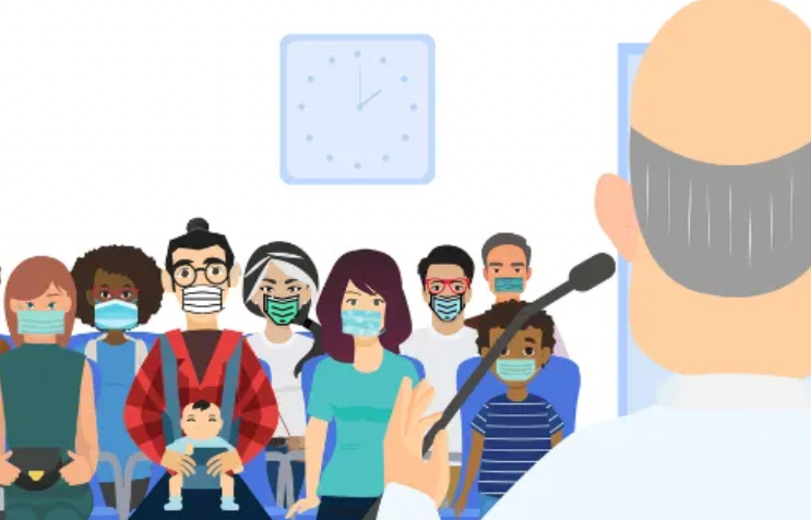 Cartoon drawing of a diverse group of people with masks on