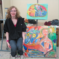 Young woman _ Allie Rohan_ seated next to a painting she created.