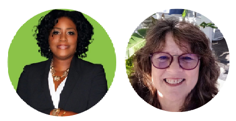 Profile images of presenters. Dee Sapp is smiling wearing a black jacket in front of a bright green wall. Kathy Becht is also smiling. She has glasses and dark hair.