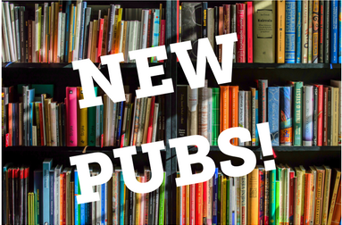White text says NEW PUBS_ over a photo of bookshelves filled with books.