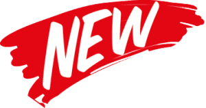 Red swoosh of paint with the word NEW on top
