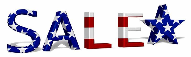 The word Sale in 3D in the American flag colors the a star isolated on white 4th July Sale