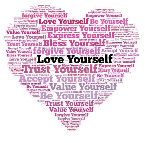 Love yourself in word collage