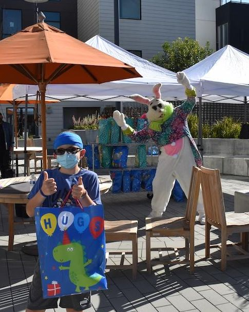 2021 Bobby the Easter Bunny social distanced outside party
