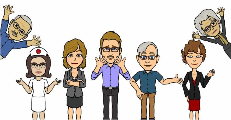 Cast of characters from _Mr. Gomez Learns About Medicare Fraud_ comic
