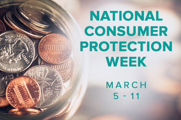 Jar of coins with National Consumer Protection Week and Dates