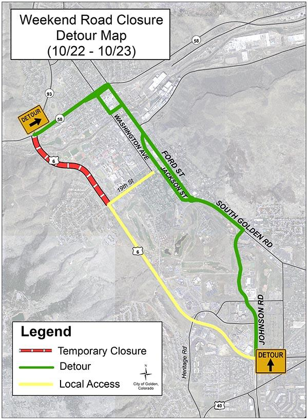 Detour on Oct. 22 and 23