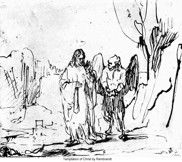 Temptation of Christ by Rembrandt