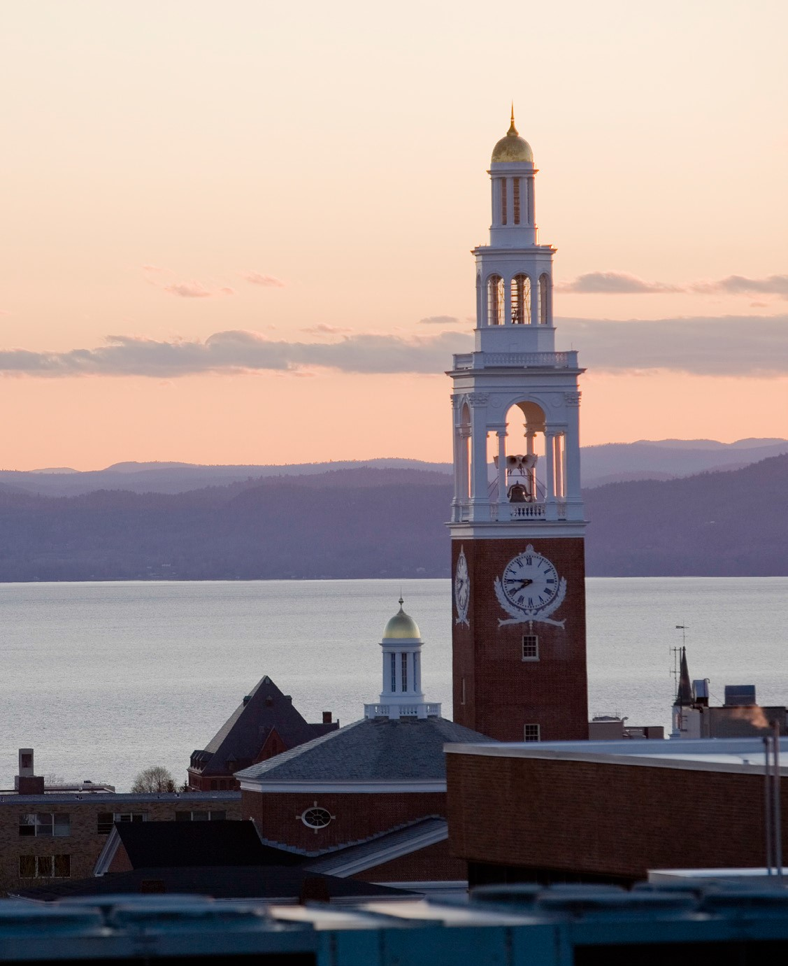 UVM campus tower and view of lake