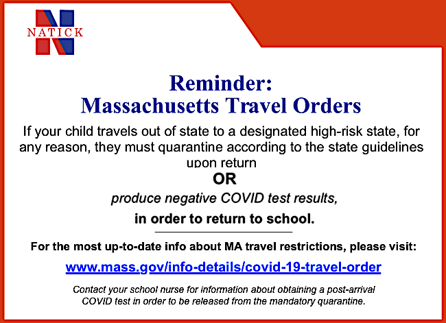 MA COVID Travel Order advisory.