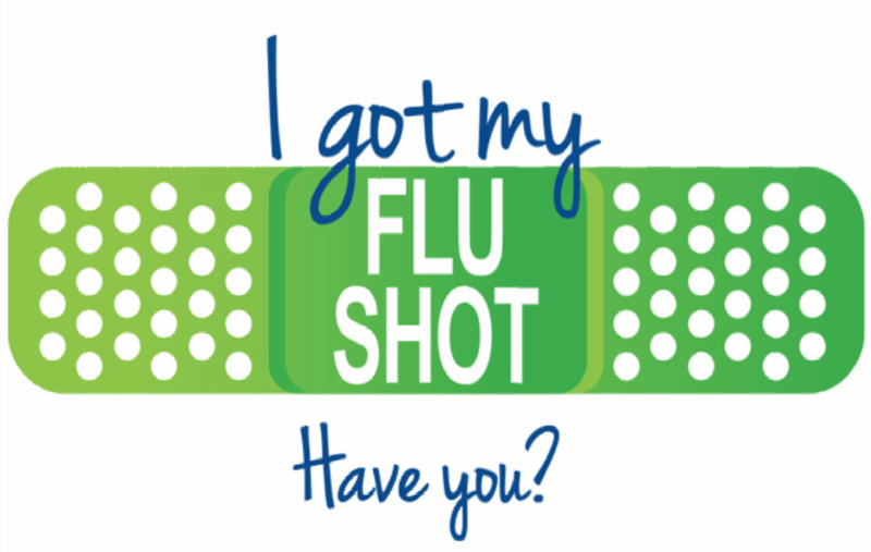 """I got my flu shot"" graphic with a green bandage."