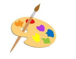 Paint palette with a paint brush