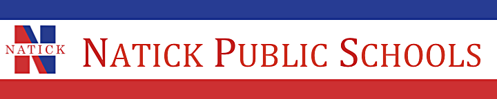 """Banner with the NPS logo and """"Natick Public Schools"""" written with a blue bar above and red bar below."""