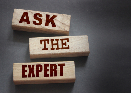 Ask the Expert words on wooden blocks. Consulting a professional_ master or consultant for a solution and advice business concept.