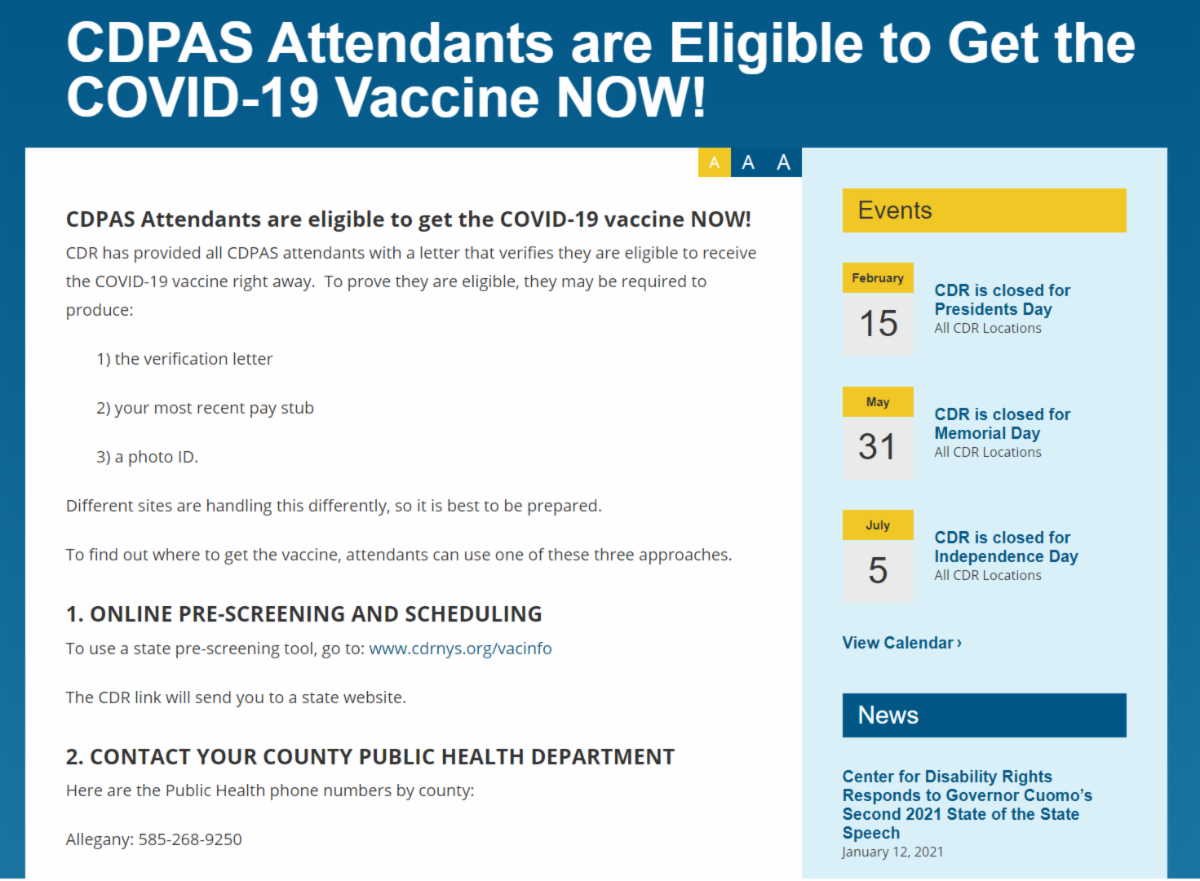 A screenshot of CDRs webpage on cdpa vaccination