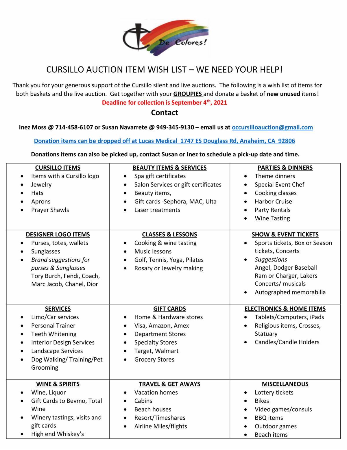 CURSILLO AUCTION ITEM WISH LIST 7-10-2021.jpg