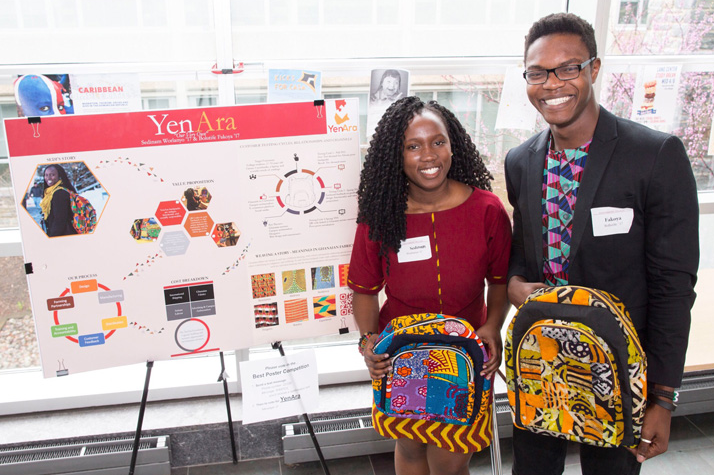 Sedinam Worlanyo and Bolutife Fakoya both Swarthmore College alumni present at Swarthmore SwatTank Annual Business and Innovation Competition.