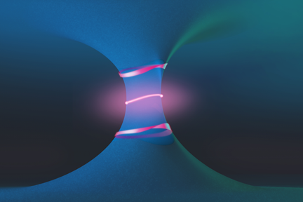 A drawing illustrates the unusual topological landscape around a pair of features known as exceptional points (red dots), showing the emergence of a Fermi arc (pink line at center), and exotic polarization contours that form a Mobius-strip-like texture