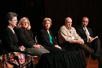 MIT MRL External Advisory Board Chair Julia Phillips (far left) moderated the Materials Day Symposium panel on Frontiers in Materials Research. She was joined by (from second left) Profs. Karen Gleason, Caroline Ross, Timothy Swager, and Vladimir Bulovic.