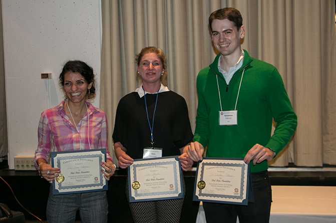 Materials Day Poster Session winners are (l-r) Postdoc Dena Shahriari, electrical engineering and computer science, graduate student Vera Schroeder, chemistry, and Postdoc Sebastian Pattinson, mechanical engineering. Photo, Denis Paiste, MIT MRL
