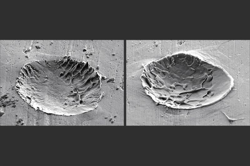 Micrographs of a metal surface after impact by metal particles. Craters are formed due to melting of the surface from the impact.  Courtesy of the researchers