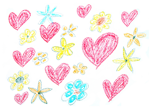 Child drawing of Valentine s Day background made with wax crayons