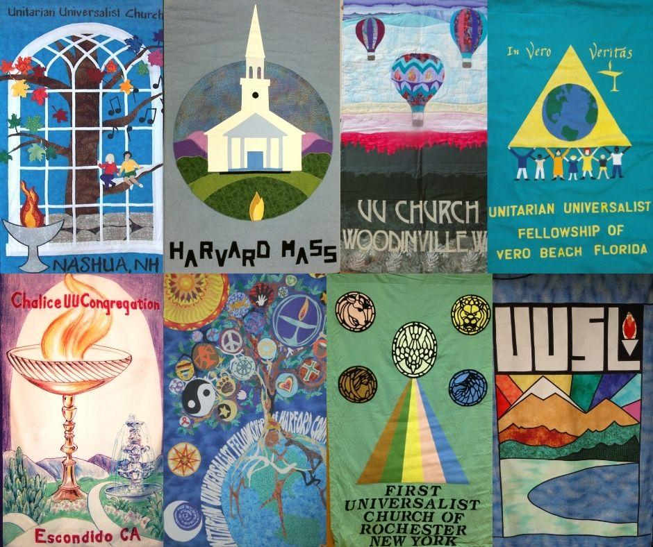 A collection of colorful banners of UU Congregations