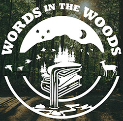 Words in the Woods logo over wooded background