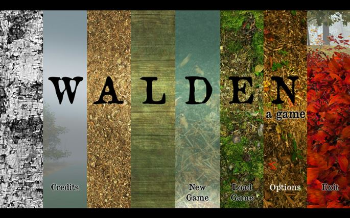 Colered vertical bars superimposed by the word Walden.