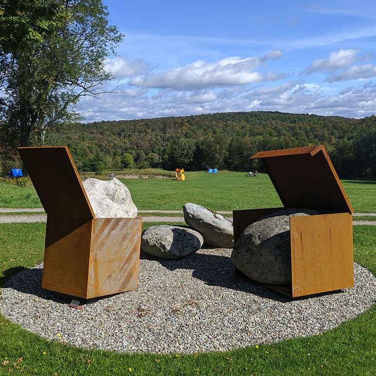Sculptures at the Cold Hollow Sculpture Park on a sunny clear day