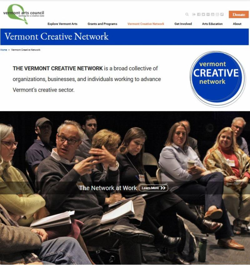 screen shot of Vermont Creative Netwok landing page.
